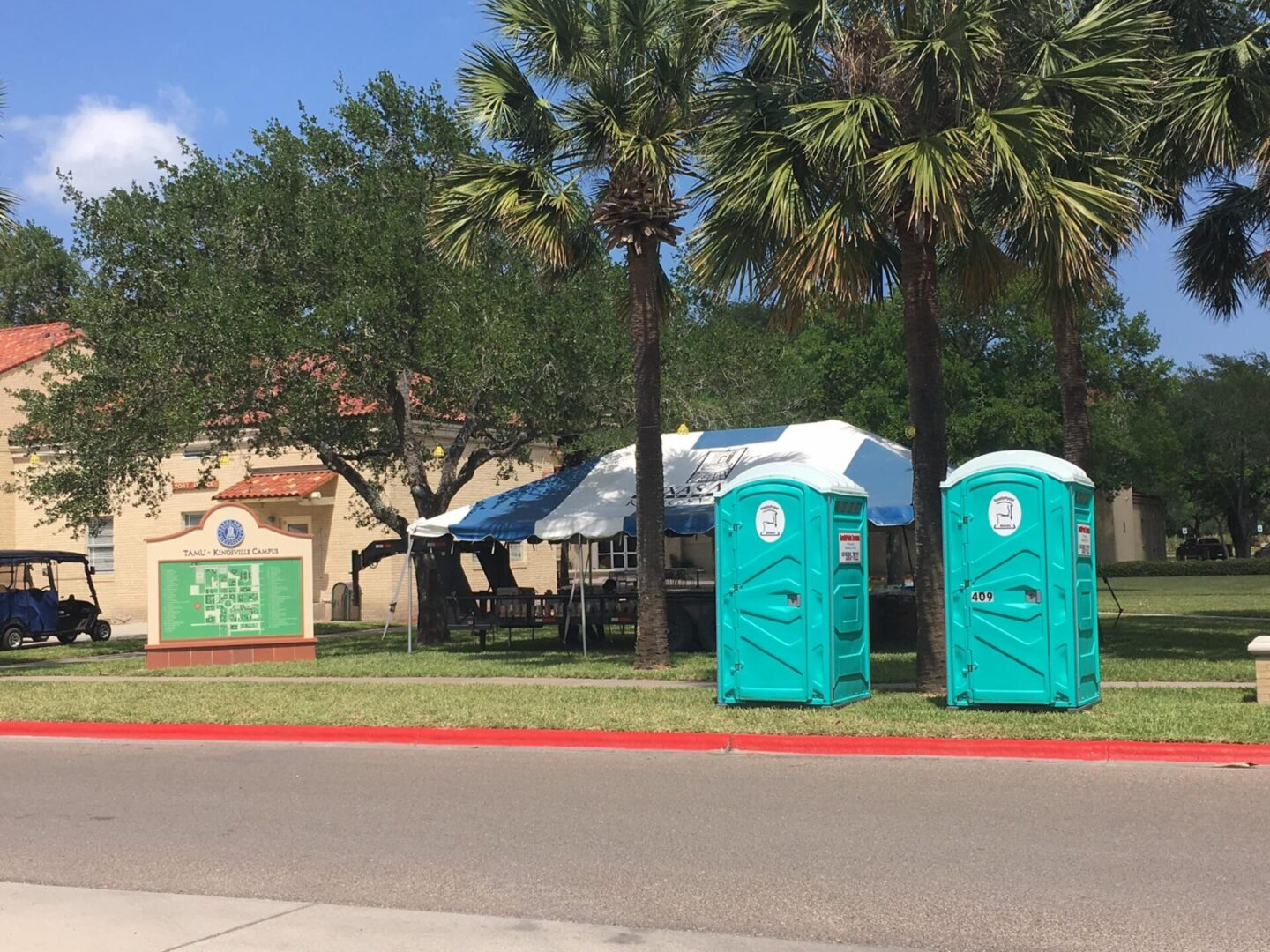 Two portable restrooms near Texas A&M University – Kingsville campus