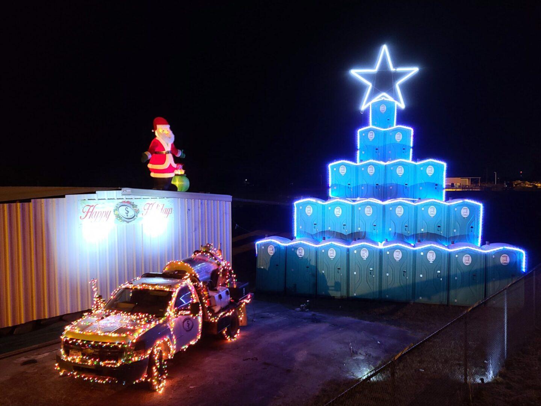 Christmas tree stack using portable toilets
